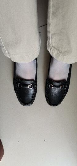 奥康官方女鞋 新品舒适平底豆豆鞋一脚蹬女士休闲妈妈护士女单鞋女皮鞋 浅蓝 38 晒单图