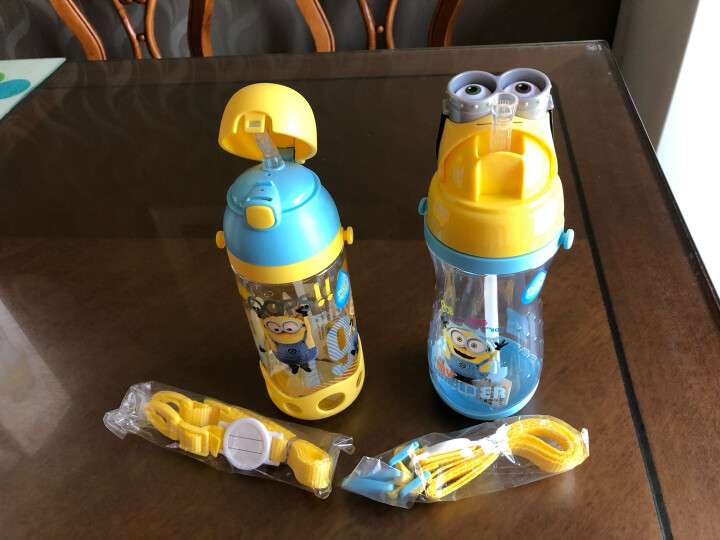 小黄人 儿童吸管杯夏季宝宝学饮水杯防摔防漏小孩学生水壶幼儿园喝水杯子 6616动感黄 晒单图