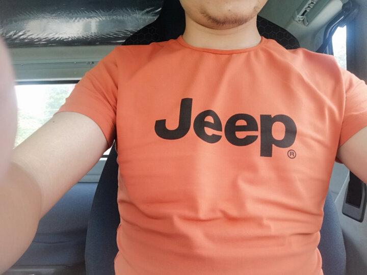 【特惠款】JEEP/吉普 短袖T恤男 圆领夏款男士休闲修身圆领微弹Polo衫 无货 墨绿色P5 175/92B(XL)52 晒单图