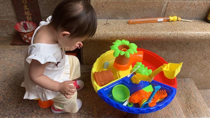 儿童沙滩玩具桌子玩沙池套装大号宝宝戏水玩沙玩具沙台男孩女孩挖沙玩具积木桌决明子沙漏铲子 方形海豚款9829 晒单图