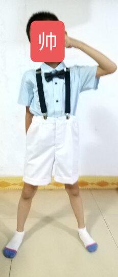 EYAS六一儿童节演出服装男童夏装短袖衬衫花童礼服男背带裤套装小学生合唱服钢琴主持人表演服 蓝色男童 130 晒单图