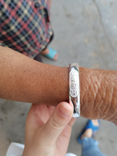 唯一银手镯女士款999足银镯子送妈妈白银首饰品传统复古民族风光面荷花老人母亲生日礼物配证书 约40克 晒单图