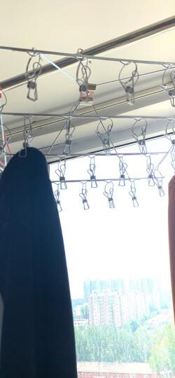 卡三加粗不锈钢晾衣架实心防风儿童多头晾衣夹子宝宝婴儿衣架袜架衣挂衣服架子 弧形-6夹(2个装) 晒单图