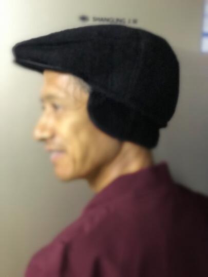 安振毅 中老年帽子男冬季加绒加厚保暖护耳老人帽子爸爸爷爷老头帽棉鸭舌帽 加绒加厚【皮边款】黑色 均码(57-59码) 晒单图