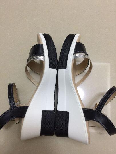 2020夏季新品真皮凉鞋女坡跟舒适百搭松糕一字扣凉拖厚底防滑鱼嘴鞋AC609 1白色 36 晒单图