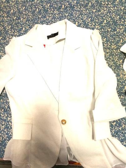 简蜓小西装女2020夏季新款修身职业装外套女时尚荷叶边白色西服女短款 黄色中袖 2XL (建议118-126斤) 晒单图