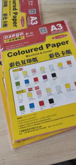 oaegoA4/A3彩色复印纸打印纸 80g彩色卡纸 100张/包 12#黑色 A3 晒单图
