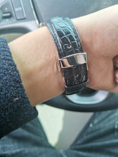 豪克鳄鱼皮表带 男女士通用手表带蝴蝶扣真皮表带适用于浪琴名匠天梭力洛克帝陀欧米茄天王万国手表皮带 黑色白线--土豪金扣 20mm 晒单图