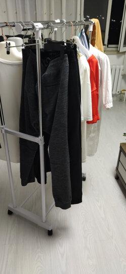 溢彩年华 不锈钢晾衣架 双杆双层置物晒衣架 出口外翻伸缩晾衣杆 阳台落地升降挂衣架晾晒架白色YCC1039 晒单图