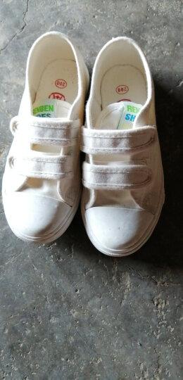 人本帆布鞋童鞋低帮宝宝室内鞋儿童布鞋男童板鞋女童小白鞋子 白色 32 晒单图