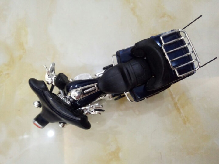 美驰图哈雷挎斗三轮摩托车仿真重机车模型合金车模玩具摆件 1/12 大滑翔-蓝色 晒单图