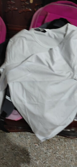 利绅狐短袖T恤男2021夏季纯色半截袖小汗衫V领半袖上衣服男装打底衫棉体恤 1539白色 M/165 晒单图
