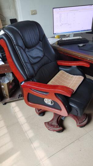 纽麦 老板椅真皮可躺按摩大班椅实木转椅电脑椅家用升降办公椅子 10轮黑色进口牛皮+按摩 固定扶手 晒单图