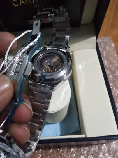 嘉年华(Carnival)手表男士机械表时尚商务夜光防水双日历男表 8629 银边白面钢带 晒单图