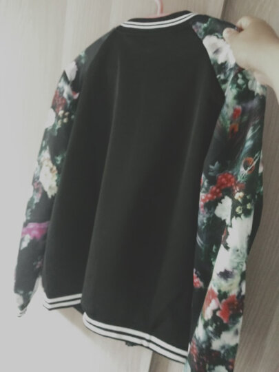 娅世荔短外套2020春夏装新款百搭印花短款小外套夹克韩版学生潮长袖棒球服女 1679#花朵凤凰袖- L码 晒单图