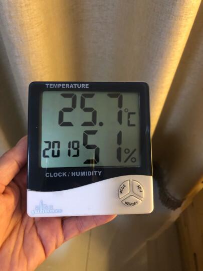 雨花泽(Yuhuaze)电子温湿度计带时间闹钟 办公家用室内外温度计 测温计 湿度计 晒单图