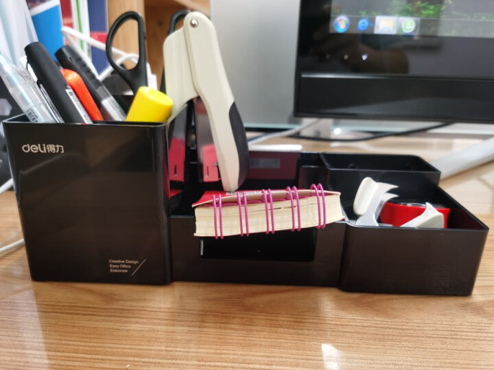 得力(deli) 多功能笔筒桌面收纳盒化妆盒多隔收纳 办公用品 9118 白色 晒单图