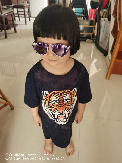 帕森(PARZIN)新款时尚儿童镜太阳眼镜 女童复古偏光镜金属箭头潮墨镜2005 黑框反光膜冰蓝片 晒单图