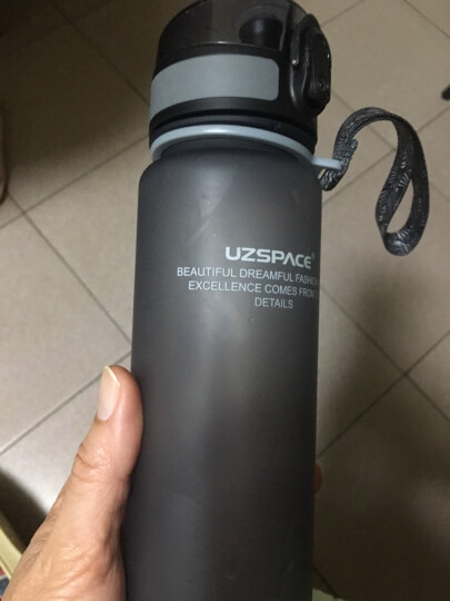 UZSPACE 优之运动水杯夏季 儿童Tritan塑料水壶男女小学生炫彩磨砂随手杯 提绳便携弹盖杯子 灰色 500ML 晒单图