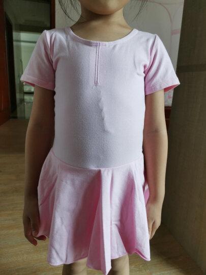 艾舞戈儿童舞蹈服秋冬长袖女童芭蕾舞裙练功服幼儿表演棉裙考级舞蹈服 玫红色-短袖-开裆-后背蝴蝶 150码 (身高150-160cm) 晒单图