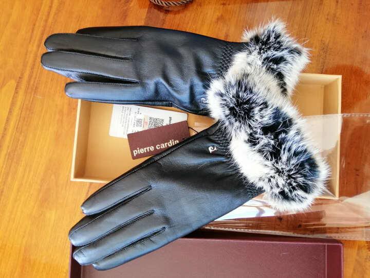 皮尔卡丹真皮手套女冬季保暖手套加绒加厚女士手套冬天开车羊皮手套 M(160/45-55KG) 晒单图