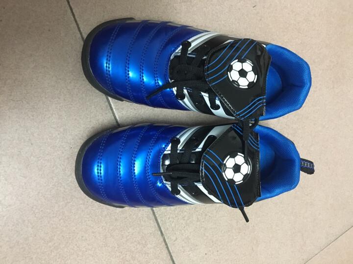 新款回力儿童运动鞋 低帮系带皮足平地训练鞋人工草地碎钉足球鞋 WF3021黑色 37/内长约22.5cm 晒单图