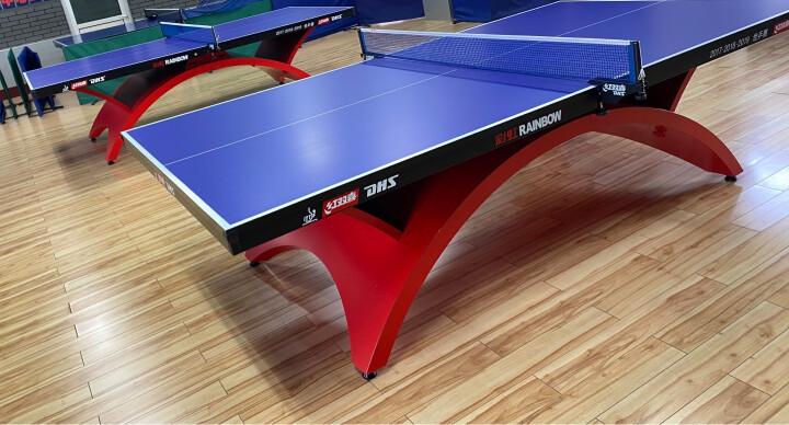 红双喜(DHS)乒乓球桌 单折式标准室内比赛球台T2123(附网架一副、乒拍两只) 晒单图