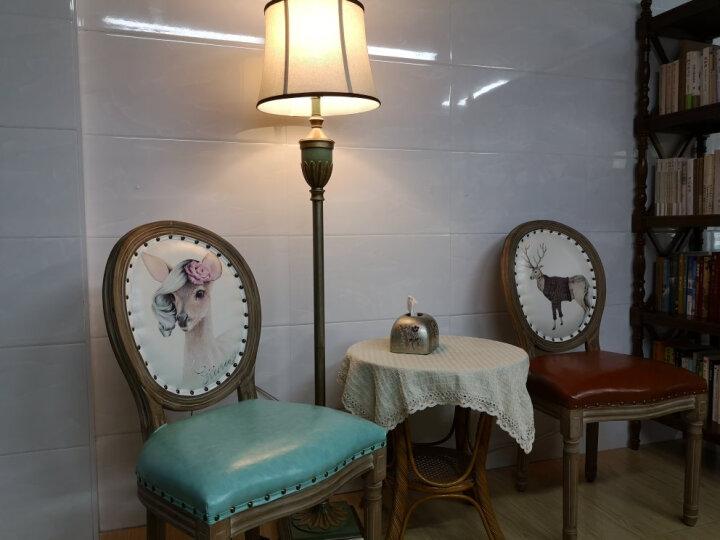 【登对】落地灯美式客厅沙发卧室床头立式台灯欧式复古温馨乡村暖光LED地中海乡村落地台灯 蓝绿色-杠杆开关 晒单图
