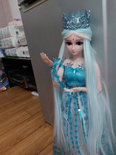 叶罗丽娃娃女孩儿童玩具夜萝莉仙子DIY仿真洋娃娃精灵梦卡通套装礼盒改装换装玩具 冰公主60CM 晒单图