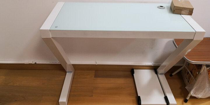 凡积 电脑桌 台式 家用 简约现代办公桌书桌学习桌钢化玻璃桌笔记本Z型电脑桌电竞桌椅写字桌 黑色钢化玻璃-有键盘 长120cm宽60cm高75cm 晒单图