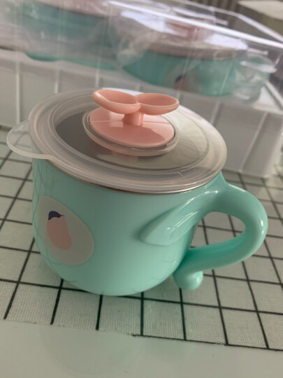 babycare儿童餐具套装保温碗婴儿碗耐热保温不锈钢吸盘碗婴儿餐具 草莓薄荷绿5件套 晒单图