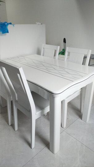 【5折限时抢】古宜(Guyi)小户型长方形现代简约时尚餐桌椅组合白色烤漆餐厅大理石实木餐桌子饭桌 1.3*0.8一桌4椅(流水线条椅) 晒单图