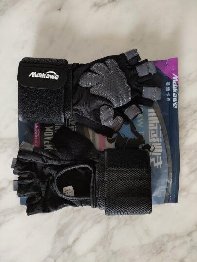曼迪卡威健身手套男女运动手套单杠器械训练耐磨防滑半指护具加长护腕 黑色男款S号 晒单图
