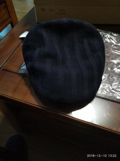 帽子男冬天韩版时尚针织鸭舌帽秋冬贝雷帽画家前进帽 藏青色60CM 晒单图