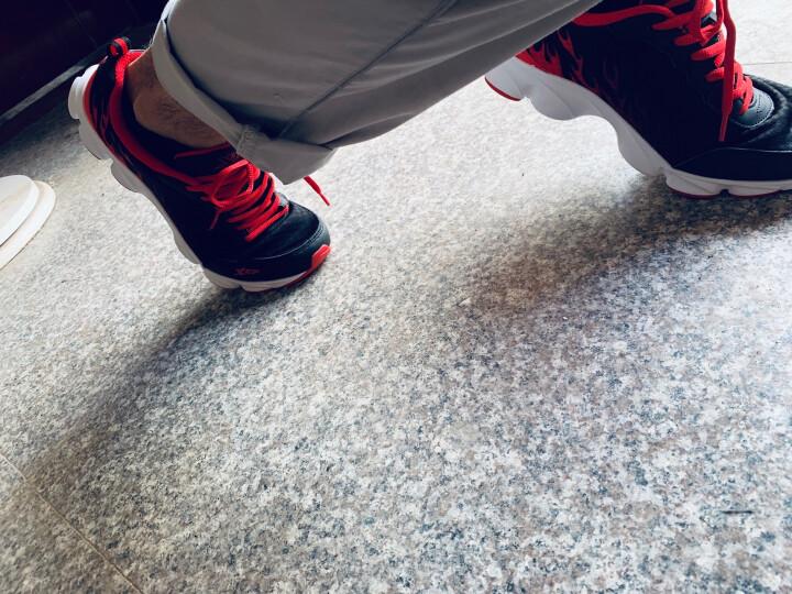 特步男鞋运动鞋男休闲跑步鞋2020夏季新款官方旗舰户外网面透气风火旅游板鞋学生健步老爹鞋慢跑鞋子男 新黑红/皮面 43 晒单图