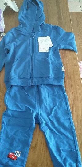 迪士尼(Disney)童装 男女童春季套装纯棉外出服纯色宝宝带帽卫衣套装 蓝色 90cm 晒单图