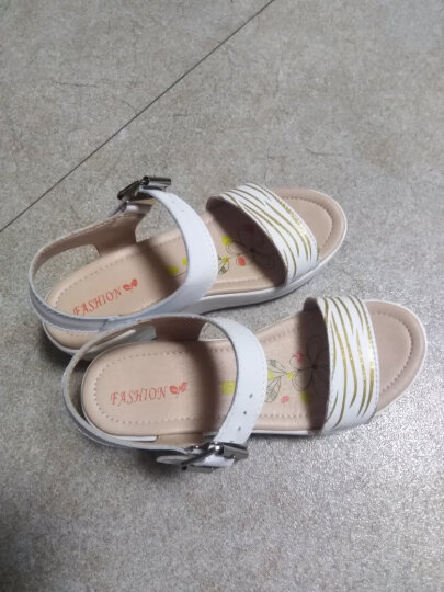 西关村 凉鞋女真皮2020夏季透气休闲鞋韩版学生鞋 蓝色 37 晒单图