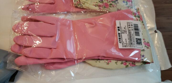 欧润哲 洗碗手套加绒 加长洗衣清洁保暖家居厨房长袖防水手套 随机色 晒单图