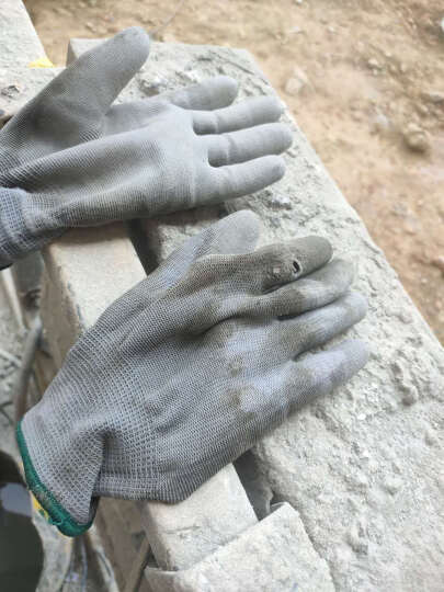 新越昌晖PU尼龙涂指手套 涂胶涂层劳保手套 防护白手套 耐磨防滑透气男女工地工作干活手套10付/S码 B11406 晒单图