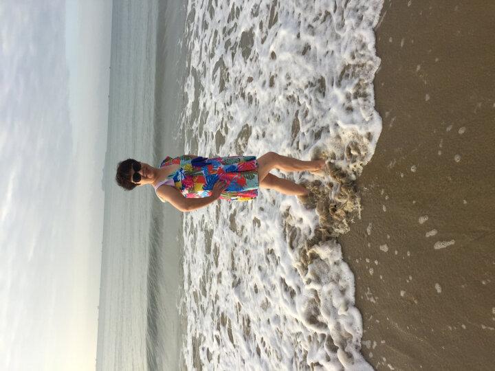 海波特(SEA'BBOT)泳衣女保守遮肚显瘦钢托游泳衣连体裙式平角妈妈大码温泉泳装 蓝叶子 XXL 晒单图