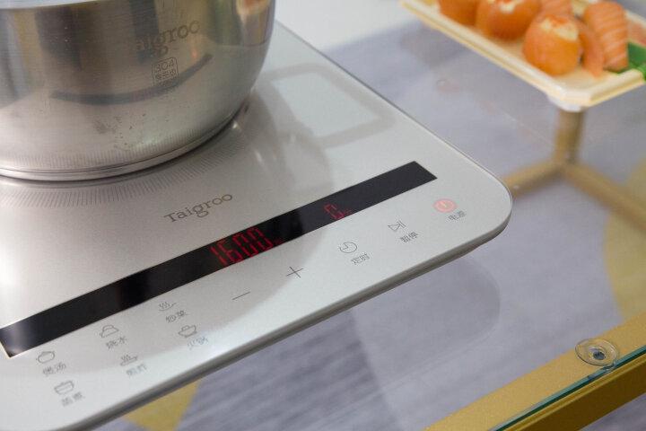 Taigroo钛古电磁炉液晶双屏德国芯片变频连续小火静音超薄电磁灶电池炉家电IC-A2102 珊瑚红汤锅套装 晒单图