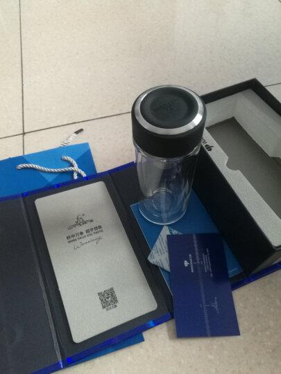 万象双层玻璃杯茶杯子男女士商务办公耐热微保温泡茶大容量水杯 315ml-皮纹黑  礼盒装 晒单图