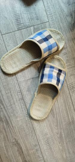 恋家 家居亚麻拖鞋时尚格子地板拖 大红格 39/40 LJ815012 晒单图