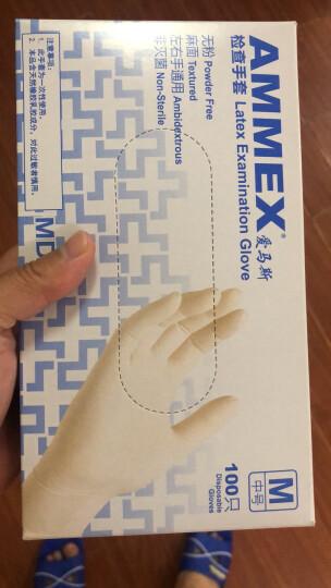 爱马斯AMMEX一次性乳胶手套食品餐饮家务牙科美容实验科研医务检查橡胶手套TLFCMDI耐用型100只 乳白色中号M 晒单图