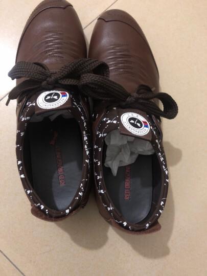 红蜻蜓男鞋子休闲皮鞋男士韩版潮流青年镂空皮鞋 绿色套脚款 39 偏大一码 晒单图