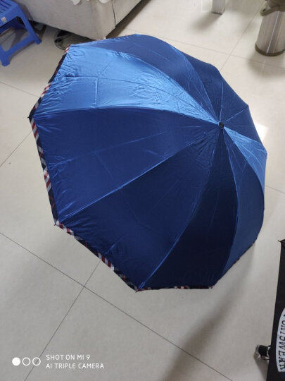 天堂伞 晴雨伞遮阳伞三折叠黑胶防晒防紫外线太阳伞加大双人经典商务伞 33196黑胶6#驼色 晒单图