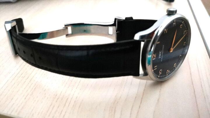 适用IWC万国手表带 男真皮飞行员柏涛菲诺葡萄牙七日链手表链 意大利牛皮|蓝色同色线|针扣款无扣 20mm 晒单图