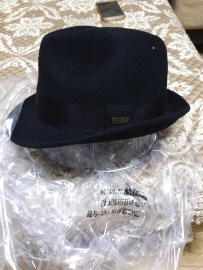 诗丹凯萨帽子男礼帽男爵士帽秋冬羊毛帽男士毡帽英伦男帽子 黑色57cm-59cm 晒单图