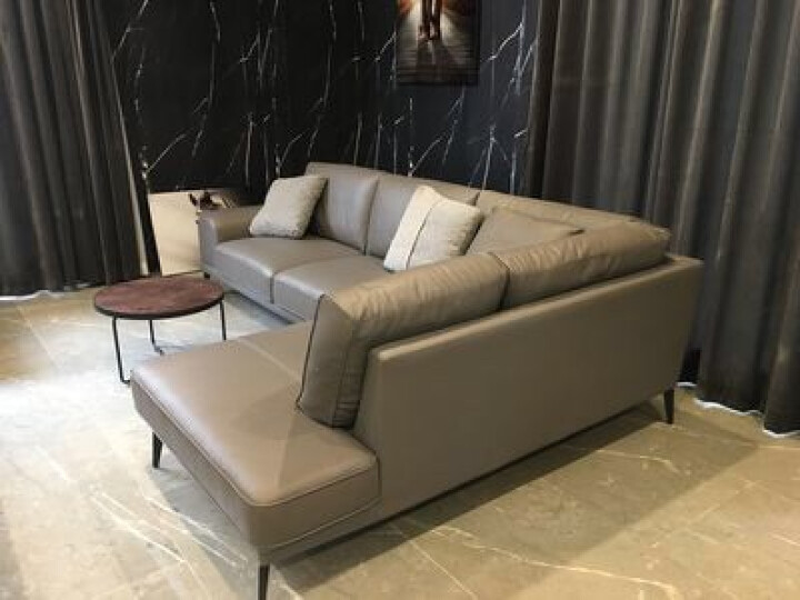 慕适 沙发 真皮沙发 现代简约沙发 三人沙发 小户型沙发客厅整装家具 双人沙发四人组合办公 棕啡色真皮V8# 三人沙发 晒单图