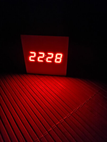 TIMESS闹钟 创意三组闹铃声控时钟LED夜光静音温度两用电子木头钟表5027白 晒单图